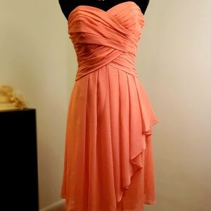 David's Bridal coral, tea length, size 2 dress.